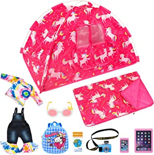 Ecore Fun 9 Items American 18 inch Unicorn Dolls Camping Tent Set and Accessories Including 18 Inch Doll Tent, Doll Sleepi...