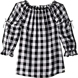 Open Sleeve Challis Gingham Top (Big Kids)