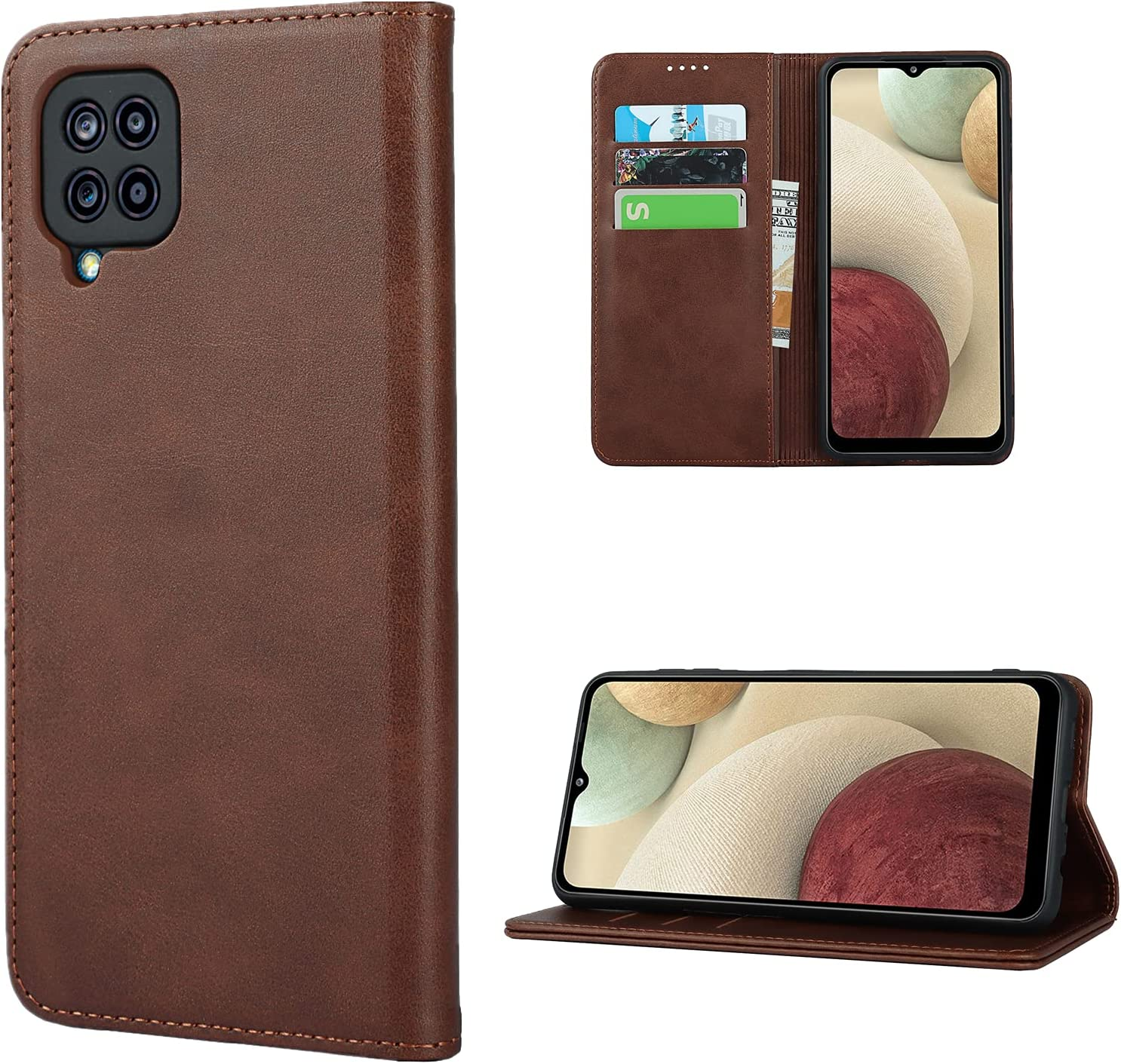JWS-C Samsung Galaxy A12 Wallet Case with Card Holder Slots Flip Cover 【 Leather 】 for Women Samsung Galaxy A12- Dark Brown