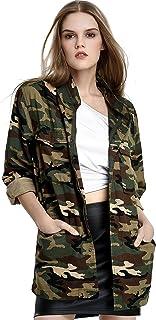 Escalier Women's Anorak Jacket Lightweight Drawstring Hooded Military Parka Coat
