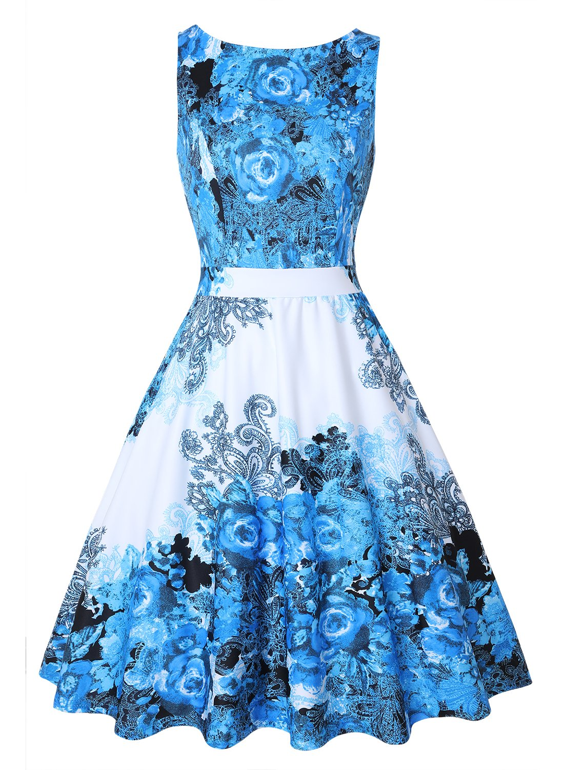 Available at Amazon: OWIN Women's Floral 1950s Vintage Swing Cocktail Party Dress Sleeveless