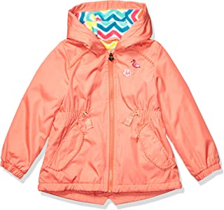London Fog Girls' Toddler Fleece Lined Midweight Jacket with Rouched Waist, Rooibos Coral, 3T