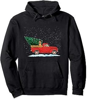 Labrador Retriever Vintage Red Pickup Truck Christmas Tree Pullover Hoodie