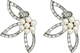 Floral Baguette Pearl C Earrings