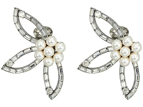 Oscar de la Renta Floral Baguette Pearl C Earrings