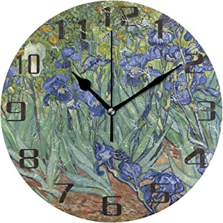 Van Gogh iris blomma väggklocka tyst icke-tickande 25 cm rund klocka akrylkonst målning hem kontor skoldekor