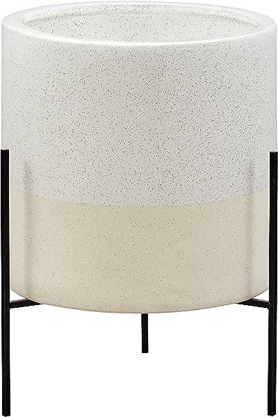 Rivet Mid Century Ceramic Planter With Stand 17 H White