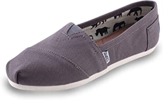 HSYZZY Women's Canvas Shoes Slip-on Ballet Flats Classic Casual Sneakers Daily Loafers Grey