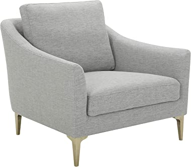 "Amazon Brand – Rivet Alonzo Contemporary Living Room Accent Chair, 39""W, Light Grey"