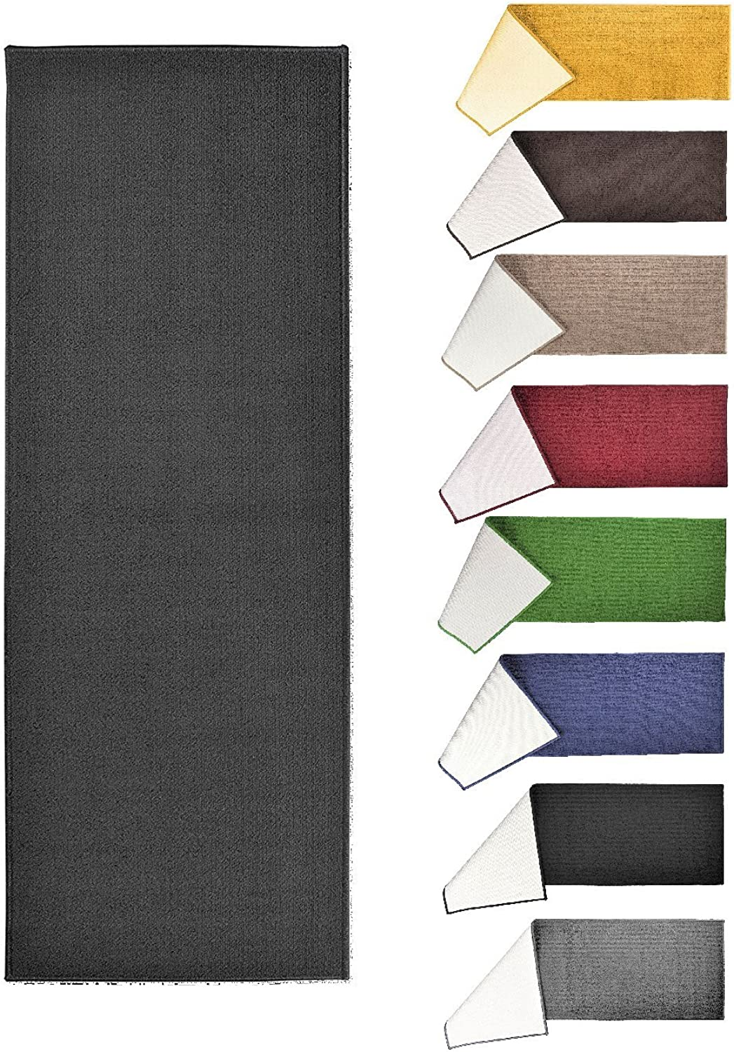 Solid Fashion Floor Runner Rug - Non-Skid Home, Hallway, Staircase, Floor Carpet - Soft and Comfortable, 22.5  x 48  (Black)