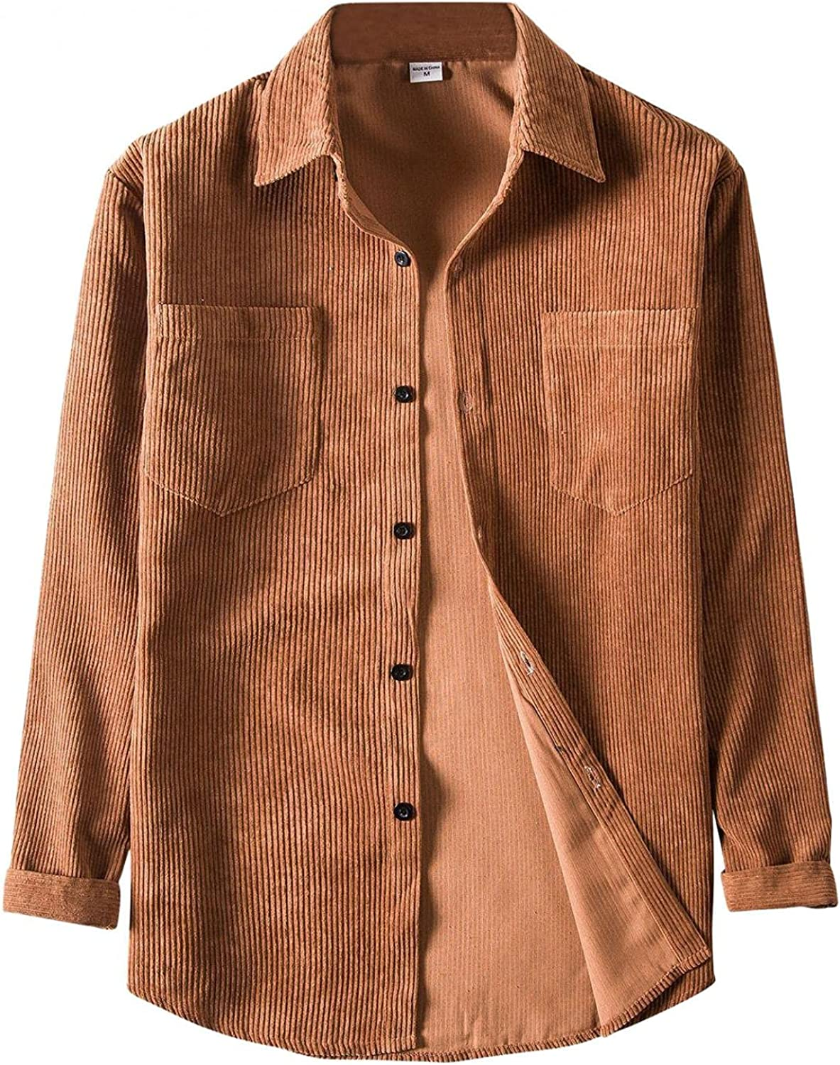 Men's Vintage Corduroy Long Sleeve Shirt Button Down Casual Fashion Blouse Solid Color Tops with Pocket