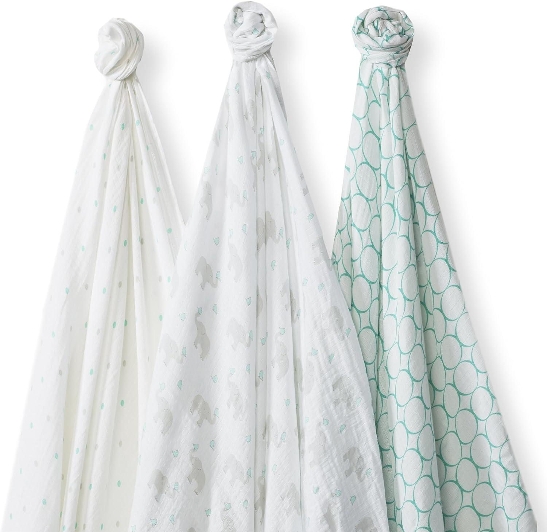 SwaddleDesigns Langes Marquisette, Mousseline de Coton de première qualité, SwaddleLite Set de 3, Éléphant & Poussins, Bleu Pastel Seacrystal