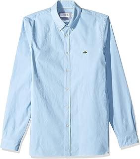 Lacoste Men's L/S Solid POPLIN Stretch B/D COL Slim Shirt, Creek, S