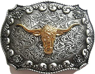 New Western Cowboy Rodeo Bull Double Color Belt Buckle