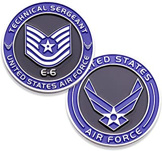 Air Force Technical Sergeant E6 Challenge Coin! United States Air Force Tech Sergeant Rank Military Coin. E-6 USAF Challenge Coin! Designed by Military Veterans - Officially Licensed Product!