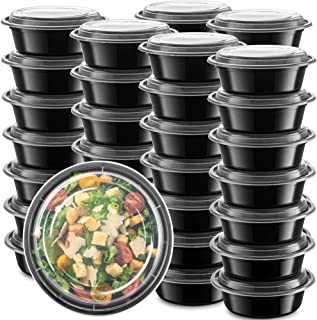 50-Pack meal prep Plastic Microwavable Food Containers Bowls for meal prepping with Lids (28 oz.) Black Reusable Storage L...