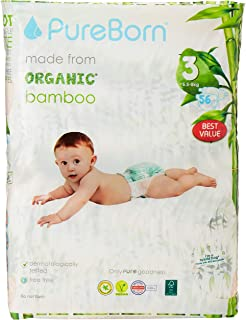 PureBorn Disposable Baby Diapers, Size 3 - 5.5 to 8 Kg - 56 Count - Palms