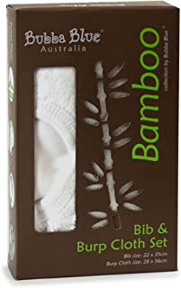 Bubba Blue Bamboo Bib & Burp Cloth & Pad Set for Drooling Teething Babies 2 Pack White Unisex