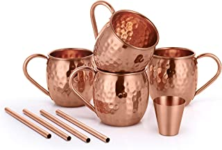 AVADOR Set of 4 Handcrafted 100% Pure Copper Moscow Mule Mugs Hammered Finish 16 Oz. Gift Set Boxed with Shot Glass, 4 Cop...