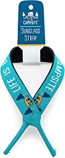 Camco Teal Life is Better at The Campsite Blue Retro RV Patterned Sunglass Straps, Comfortable and Adjustable Eyewear Reta...