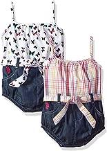 U.S. Polo Assn. Baby Girls' Denim Romper 2 Pack Set