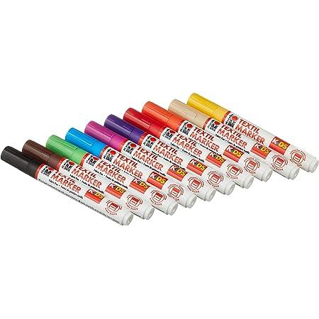 Marabu 0314000000002 - Kids Textilmarker Set mit 10 kräftigen, leuchtenden Farben, Kinder Stoffmalstifte mit 3mm Spitze für helle Stoffe, auf Wasserbasis, nach Fixierung waschbeständig bis 60°C