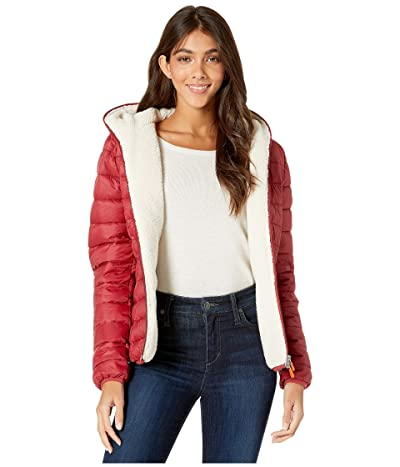 Save the Duck Giga 9 Hoodie Puffer Jacket with Sherpa Lining (Mineral Red) Women