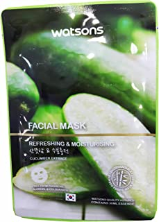 4 Mask sheets of Watsons Refreshing & Moisturising Cucumber Extract Facial Mask. Free from Parabens, Alcohol & Colourants. Bamboo Fabric Mask Sheet.Made in Korea. (30 Ml Essence/sheet)