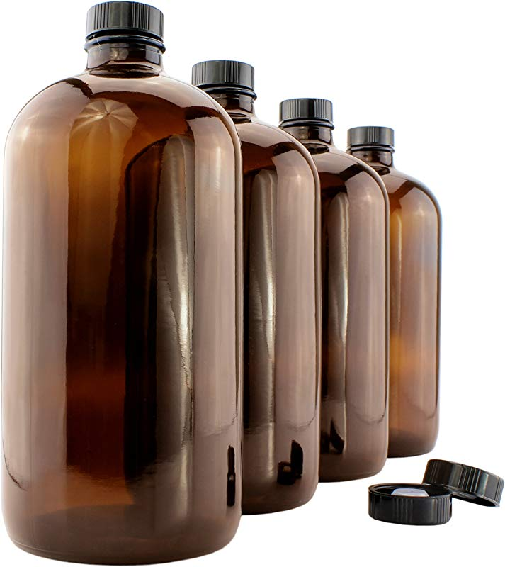 32 Ounce Amber Kombucha Growler Bottles 4 Pack 1 Quart Boston Round Glass Bottles W 6 Polycone Phenolic Lids For Home Brewing