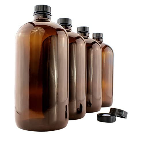 Set of 6-500ml Amber Boston Round Kombucha Bottle w//Phenolic Caps