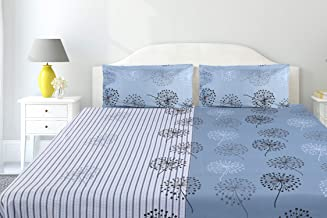 haus & kinder Two in One Mirage, 100% Cotton Double Bedsheet with 2 Pillow Covers, 186 Thread Count (Blue)