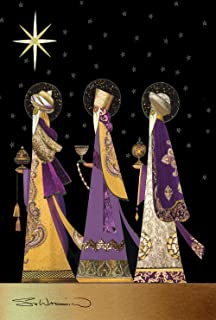 Toland Home Garden Three Wise Men 12.5 x 18 Inch Decorative Colorful Purple Gold Christmas Star Jesus Birth Garden Flag