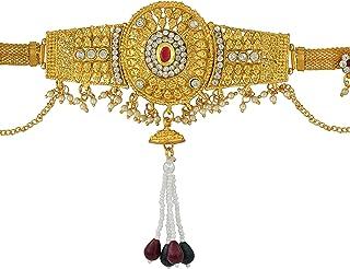 Memoir Brass Gold Plated, Big Oval Design, CZ Kundan Faux Ruby, Patta Design, Waistbelt, Bellychain, Kamar bandh Women Tra...