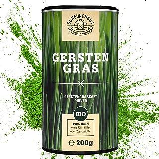 Scheunengut Gerstengrassaft Pulver Bio I 200g I Optimal: Rohkostqualität ohne Zusätze I Laborgeprüft - Vegan - Hochwertig I Umweltfreundliche Membrandose I Deutsches Produkt