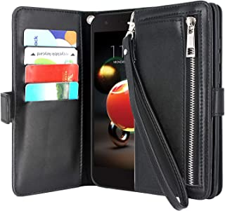 Lacass Flip Zipper Pocket Purse Leather Wallet Case Cover Stand Feature with Card Holder and Wrist Strap for LG Aristo 2 Plus/Aristo 3/Rebel 4/Phoenix 4/Zone 4/Fortune 2 (Black)