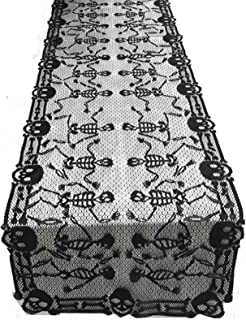 JunMu 80x18 inches Large Halloween Table Runner, Black Lace Table Runner, Funny Dancing Skeleton Table Runner, Halloween T...
