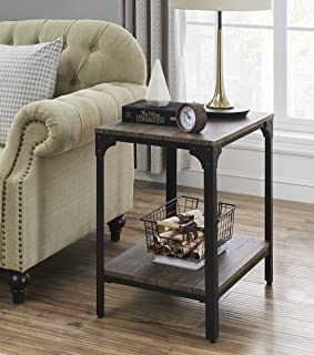 """O&K Furniture 24"""" Height Square End/Side Table/Night Stand with Open Bottom Shelf, Gray-Brown(1-Pcs)"""