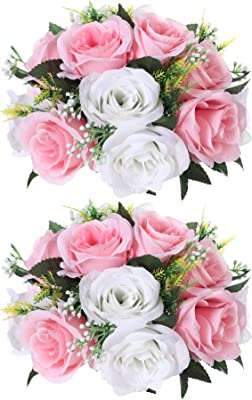 Paquete de 2 rosas artificiales de seda con tallos de plástico para bodas, arreglos de bolas de boda, centros de mesa para decoración de fiestas, 15 cabezas de flores rosas rosas