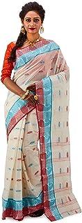 SareesofBengal Women's Jamdani Handloom Cotton Tangail Bengal Tant Saree Off-White