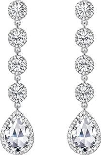Women's Elegant Wedding Bridal Crystal Beaded Teardrop Chandelier Dangle Earrings