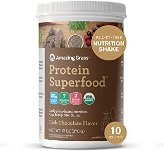 Amazing Grass Protein Superfood: Vegan Protein Powder, All in One Nutrition Shake, Rich Chocolate, 10 Servings