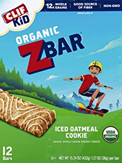 Clif Kid Zbar, Organic Granola Bars, Iced Oatmeal Cookie, 1.27 Oz Bars, 12 Ct