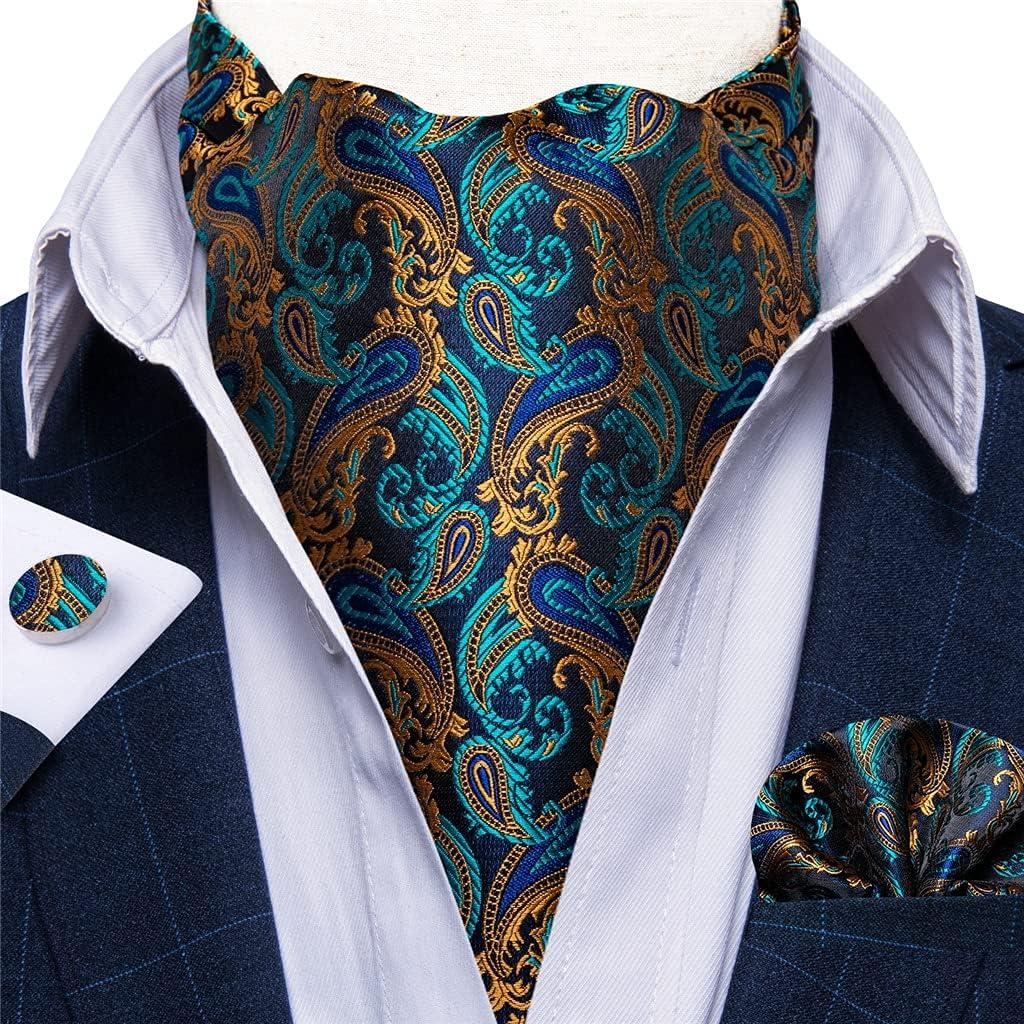 DIAOD Men British Style Neck Tie Vintage Gold Navy Jacquard Woven Necktie Cravat Pocket Square Set (Color : A, Size : One Size)
