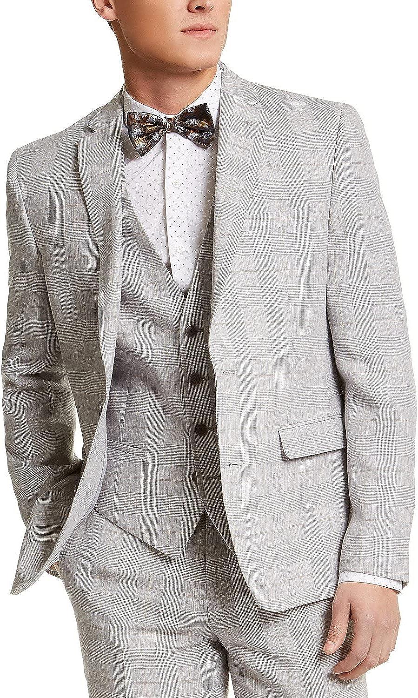 bar III Mens Linen Plaid Sportcoat