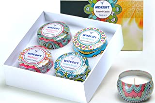 Scented Candles Gift Set of 4, 100% Natural Soy Wax Portable Travel Tin, Perfect Present or Use for Valentine Weddings Par...