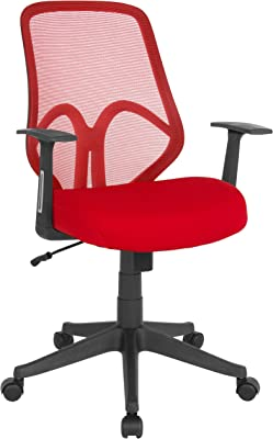 Flash Furniture Salerno Series High Back Red Mesh Chair with Arms