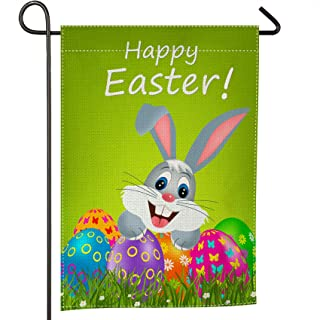 Whim-Wham Easter Garden Flag Colorful Eggs and Bunny Cute Rabbit Flowers Blue Purple Green Double Side Cartoon Cotton Line...