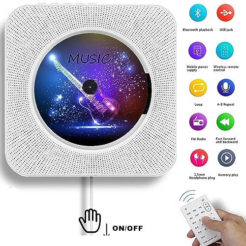 Lecteur CD Bluetooth, AONCO Lecteur CD Bluetooth Mural Haut-Parleur Version Améliorée avec Haut-Parleur HiFi à Distance Lecteur USB Lecteur et Prise d'entrée auxiliaire et Casque, Blanc