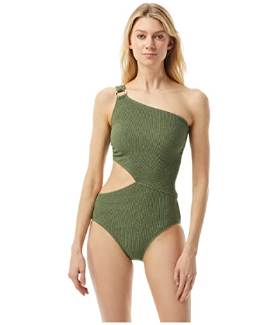 MICHAEL Michael Kors Decadent Texture One Shoulder Logo Ring Cutout One-Piece (Army Green) Women