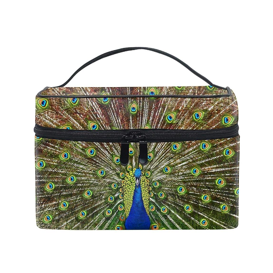 黙黙汗孔雀の羽のパターン化粧ポーチ メイクポーチ コスメポーチ 化粧品収納 小物入れ 軽い 軽量 防水 旅行も便利